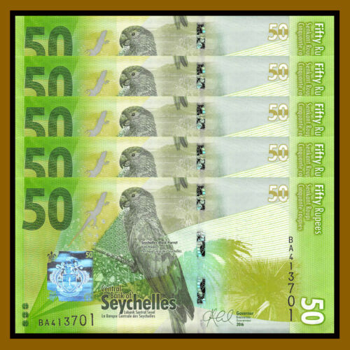 Seychelles 50 Rupees x 5 Pcs, 2016 P-49 Parrot Lizard Frog Unc
