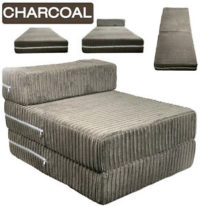 Charcoal Jumbo Cord Single Chair Sofa Z Bed Seat Foam Fold Out Futon Guest