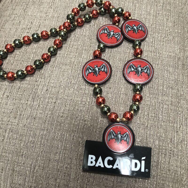 BACARDI RUM Bat Mardi Gras Beads Large Medallion Necklace Fantasy Fest Party