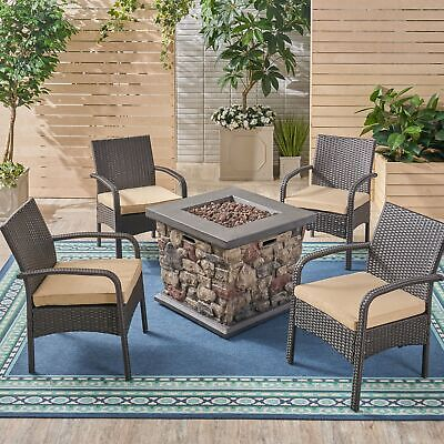 Mavis Patio Fire Pit Set, 4-Seater with Club Chairs, Wicker