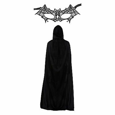 Ladies Women's Lace Bat Women Eye Face Mask & Cape Fancy Dress Set](Batwomen Mask)