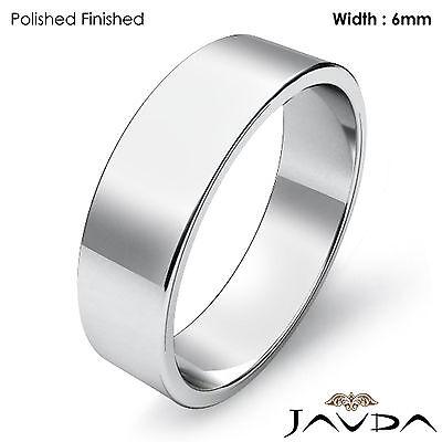 Platinum Plain Flat Pipe Cut Wedding Band Men Solid Matte Ring 6mm 9.2gm 8-8.75 (6mm Platinum Plain Wedding Band)