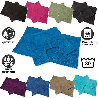 Luxury Bath and Toilet Pedestal Mat Set Large Soft Cotton Non Slip 2 PC Piece  ()