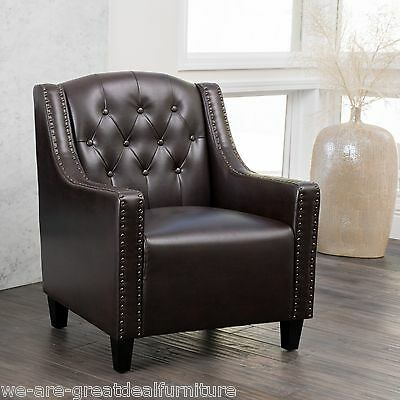 Luxury Tufted Back Espresso Leather Upholstered Club Chair / Arm Chair
