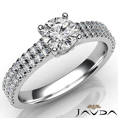 2 Row Shank French U Pave Round Diamond Engagement Ring GIA Certified E VVS1 1Ct 5