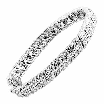 1 ct Diamond 'S' Link Tennis Bracelet in Sterling Silver-Plated Brass