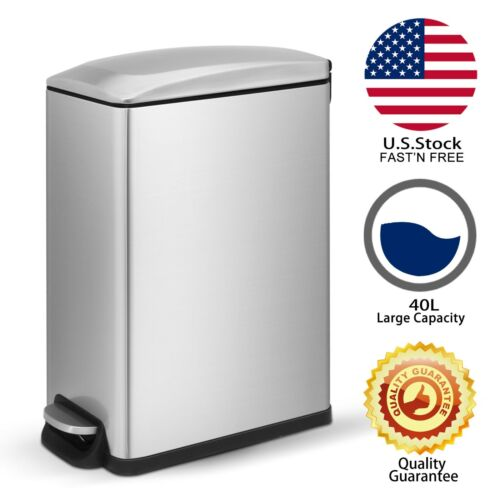 Innovaze 12.9 Gal./ 45 L Stylish Slim Stainless Steel Trash Can Home / Office