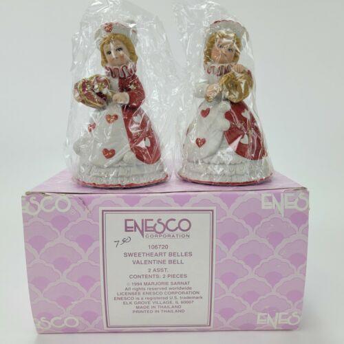 1994 Enesco MARJORIE SARNAT Sweetheart Belles Valentine Bell 2 Pieces 106720 New