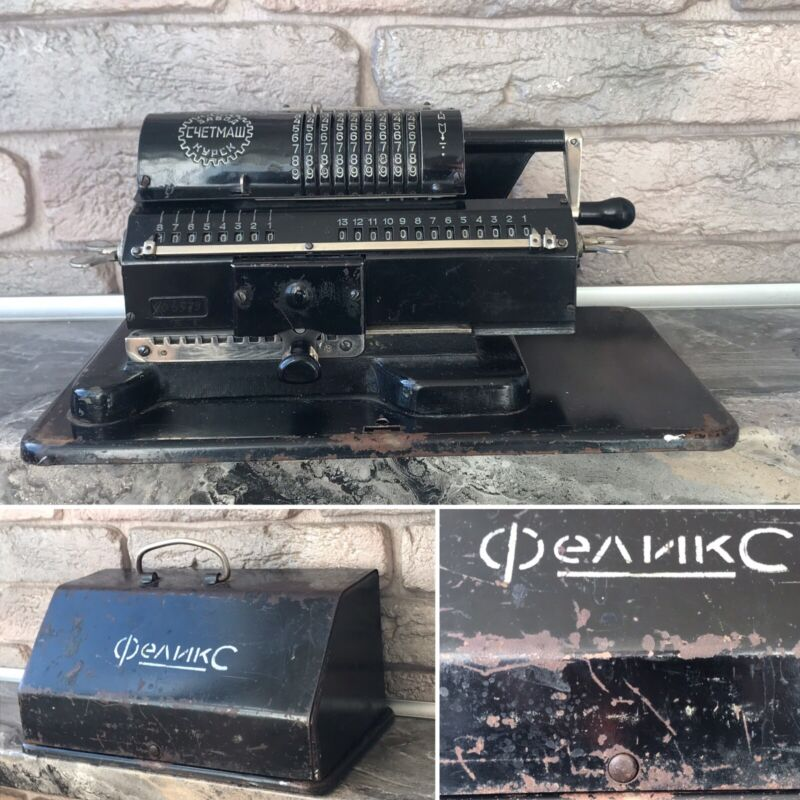 Vintage Arithmometer FELIX Mechanical Calculator Adding Machine in Box USSR