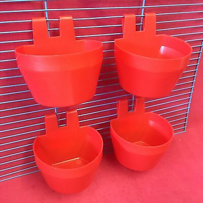 PIGEONS CHICKENS HENS CUPS Cage Clip On Water Food Bowl Container 2 Hook 9.5cm