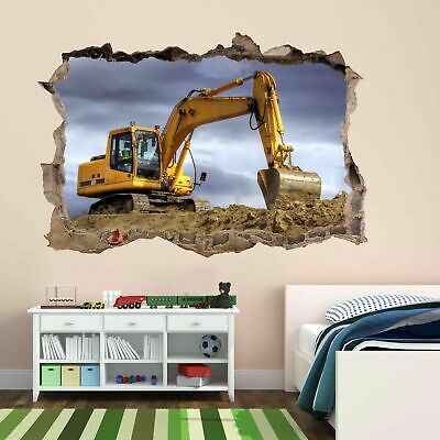 Excavator Construction Equipment Machine Wall Sticker Mural Decal Poster BF11