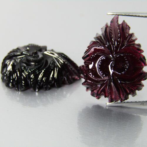 49.50Cts 100% Natural Purplish Pink  Rhodolite Garnet Flower Cut Pair  REF VDO