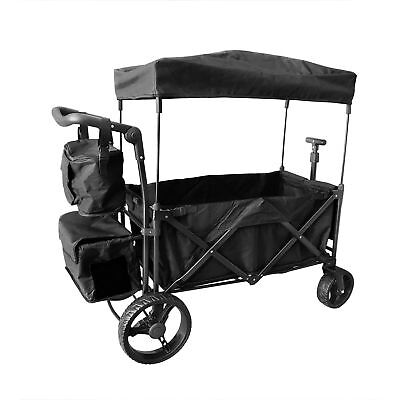 BLACK OUTDOOR PUSH FOLDABLE WAGON CANOPY UTILITY TRAVEL CART WIDE TIRES BRAKE