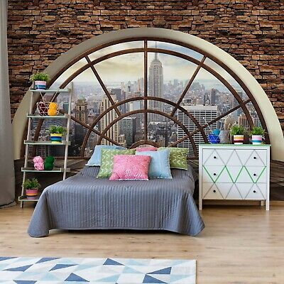 New York Penthouse Window Wallpaper Wall Mural Fleece Easy-Install Paper