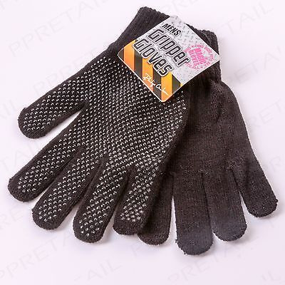 NON-SLIP PALM GRIPS Men's Warm Winter Gloves Work/Driving One Size Stretch Pair