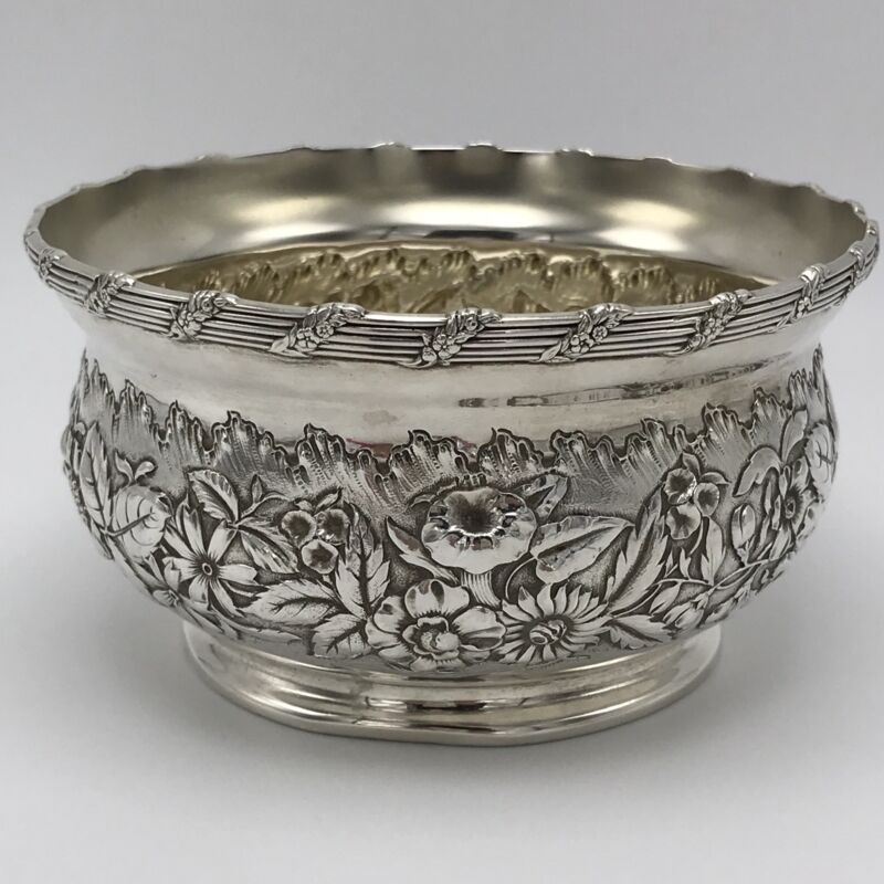 Frank W.Smith Repousse Sterling Silver Bowl Floral  RARE Antique
