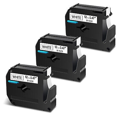 3pk For Brother P-touch Pt-65 Mk231 M-k231 M231 Black On White Label Tape 12mm