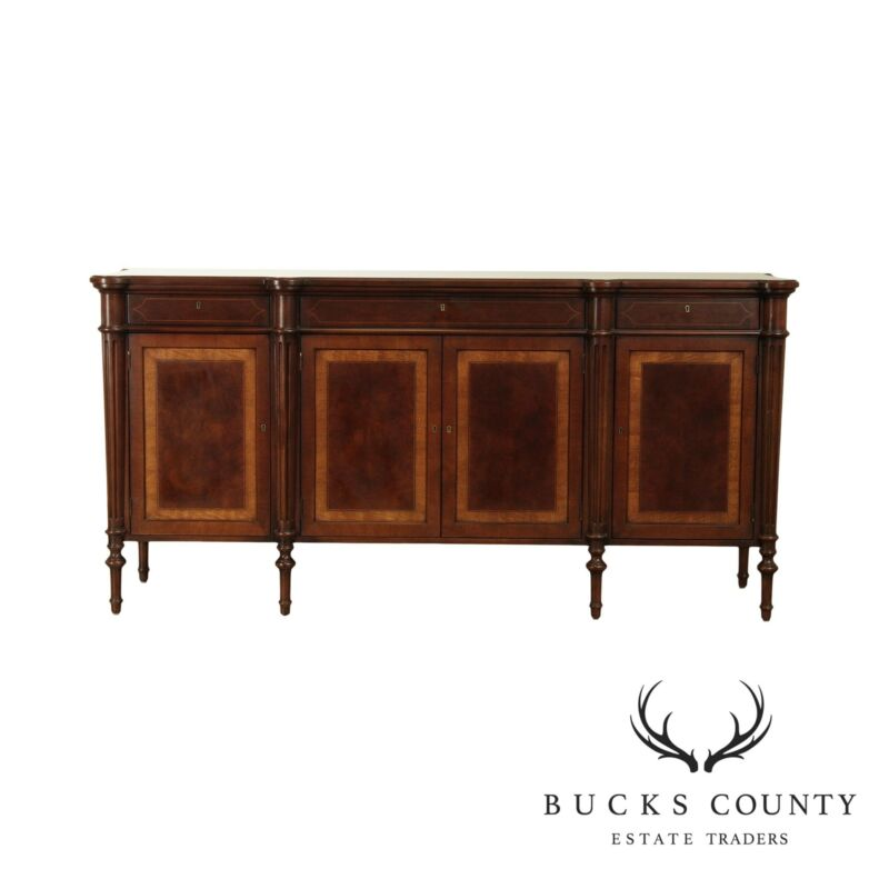 E. J. Victor Regency Style Burl Wood Sideboard with Inlay
