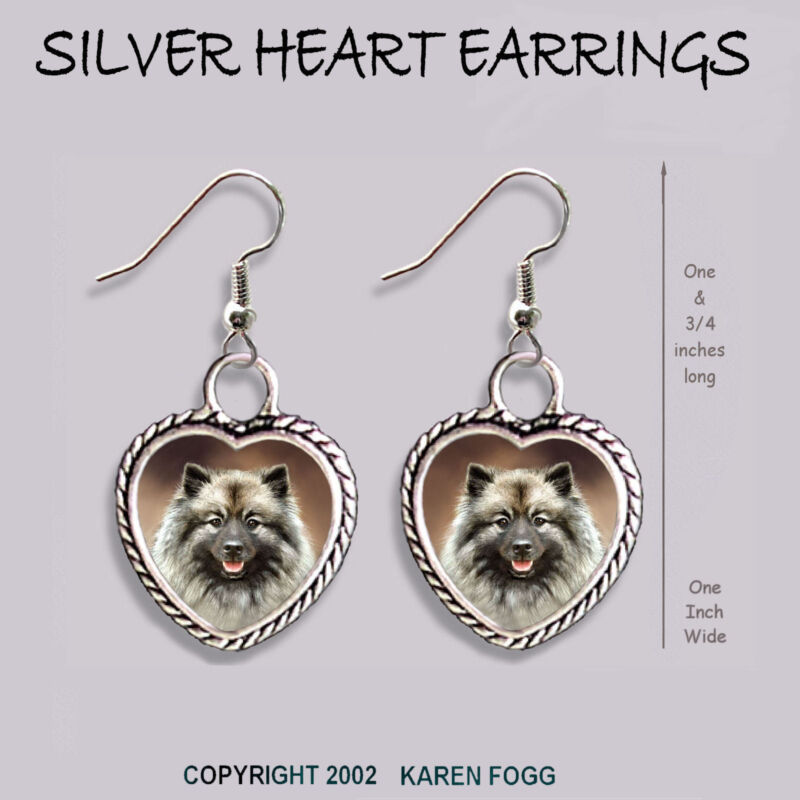 KEESHOND DOG - HEART EARRINGS Ornate Tibetan Silver