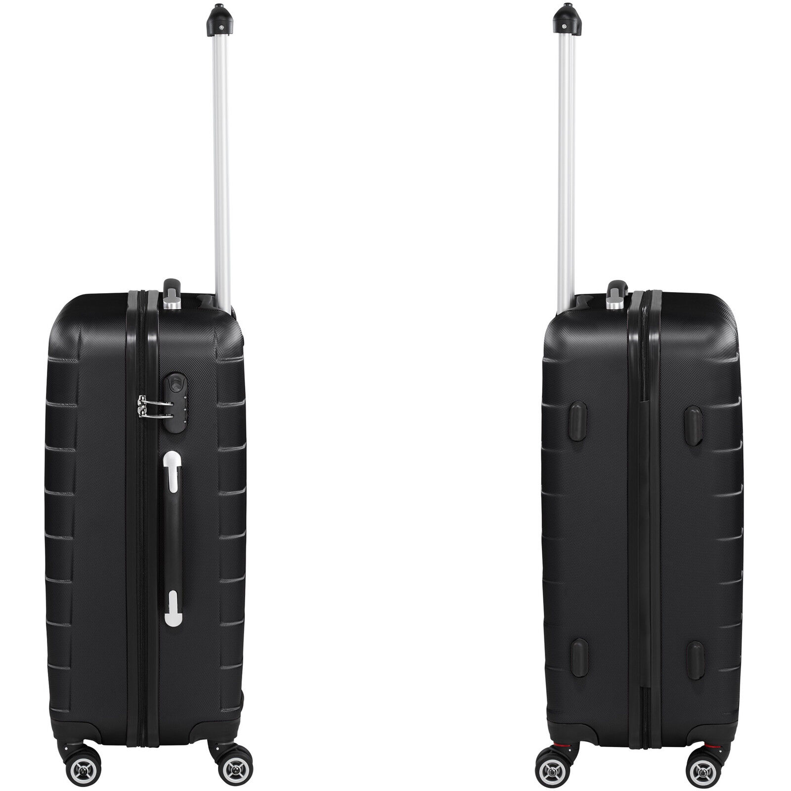 Set de 3 valises de voyage coque ABS léger rigide bagages valise trolley noir 4