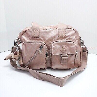 NWT Kipling HB6123 Defea Large Satchel Shoulder Handbag Nylon Rose Gold Metallic