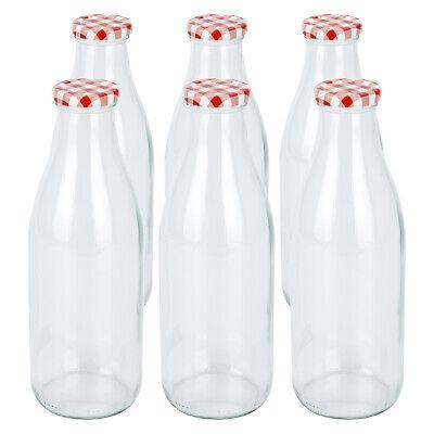 1 L Glas Flaschen mit Deckel Milchflasche Glasflasche Saftflasche Smoothie NEU