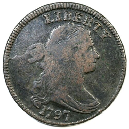 1797 S-121b R-3- Rev of 96, Gripped Edge Draped Bust Large Cent Coin 1c