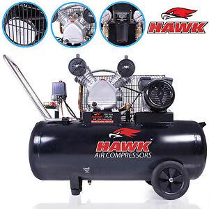 Hawk Tools 100 Litre 100l Belt Drive 230v 3hp 11 7 Cfm V Engine Air Compressor Ebay