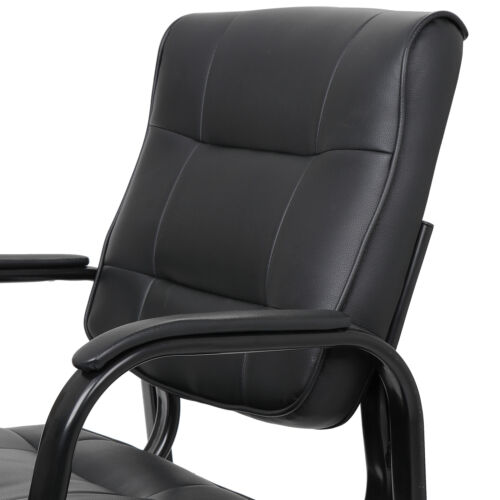Black Leather Guest Chair Reception Waiting Room Office Desk Side Chairs Classic 1