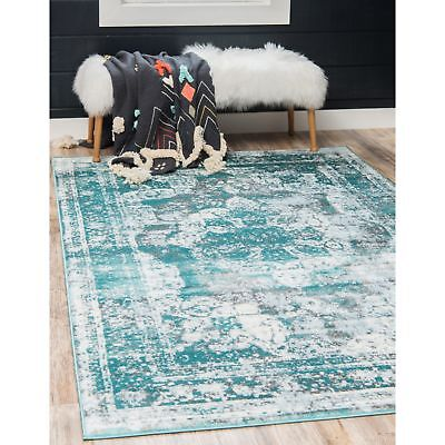 Throw Rug Teal White Retro Vintage Living Room Bedroom Accent Area Floor Mat 5x8 ()