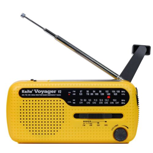 Voyager V2 AM FM Shortwave Weather Emergency Radio with Solar and Crank - Yellow