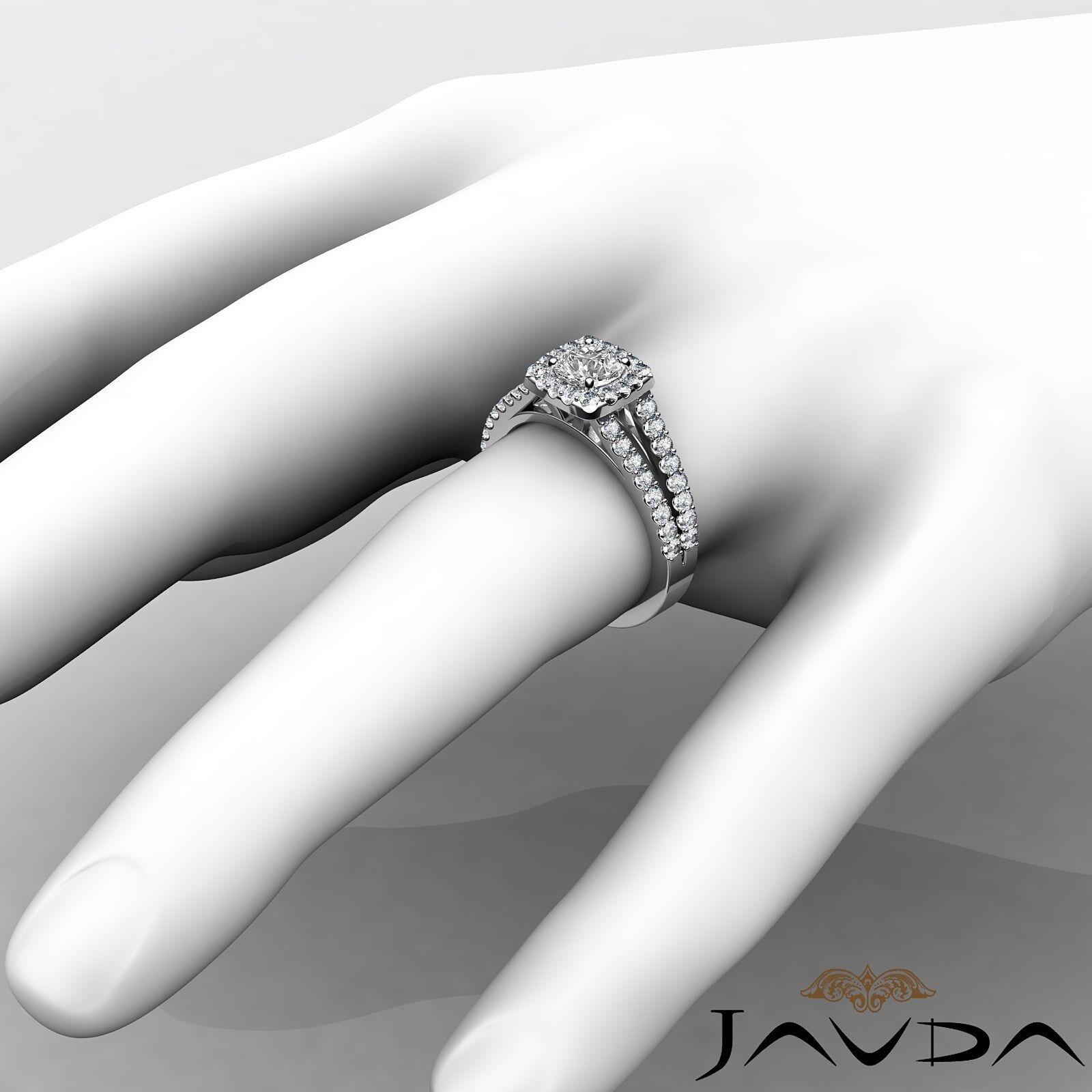 Round Diamond Engagement Halo Split Shank Ring GIA E VVS1 14k White Gold 1 1/4ct 4