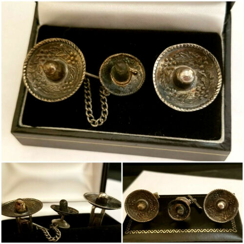 Mexico Mens Sterling Silver Sombrero Hat Cufflink Set  New 9.2 Gr 925 Embossed