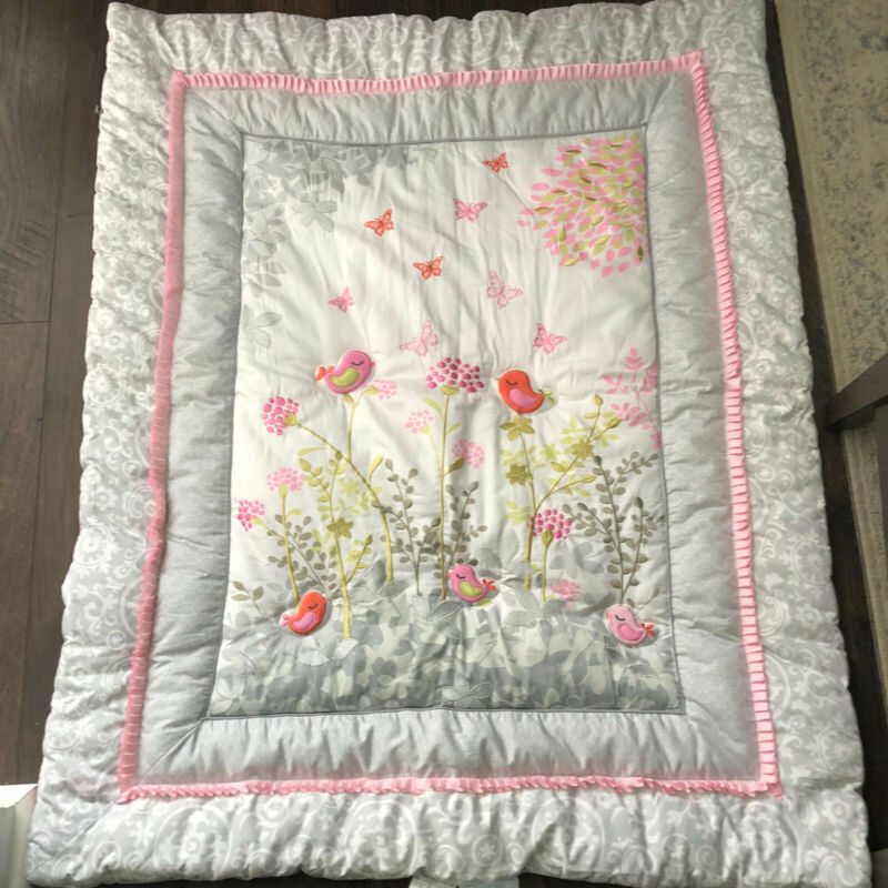 Just Born Botanica Collection Songbird Butterfly embroidered  Crib Comforter