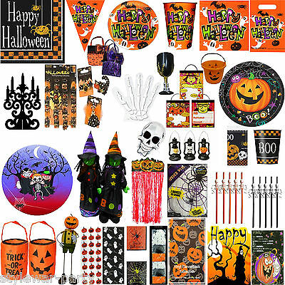 Halloween Party Tableware Pumpkin Pals and Spooky Cups Plates Napkins - Halloween Plates And Cups