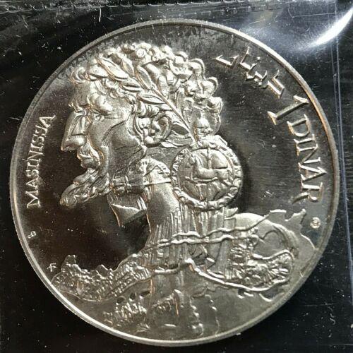 1969 TUNISIA SILVER 1 DINAR CROWN BRILLIANT UNCIRCULATED