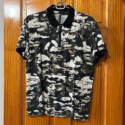 Neil Barrett floral polo zip up shirt large
