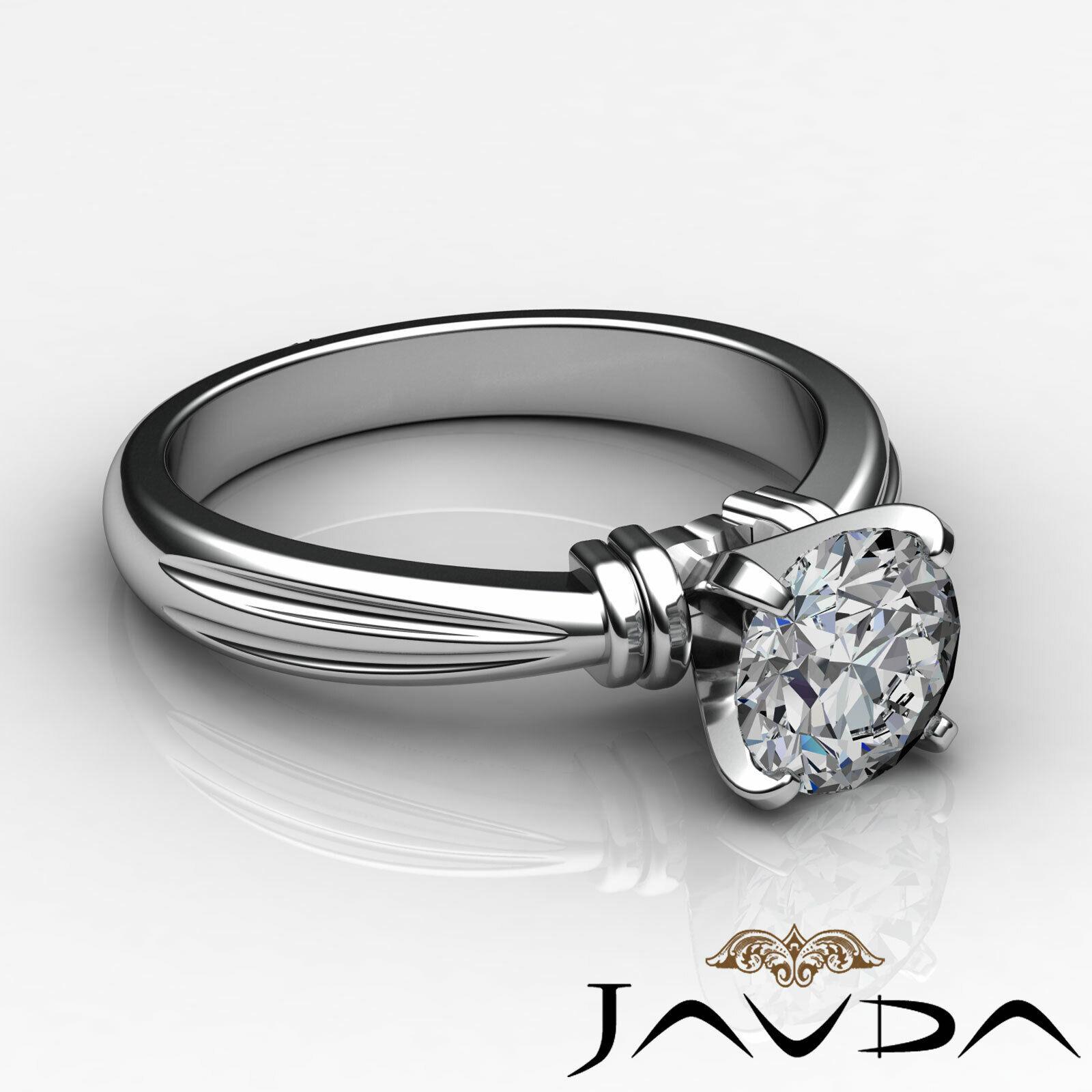Round Solitaire Natural GIA H Color VVS2 Diamond Women's Engagement Ring 1 ctw. 4