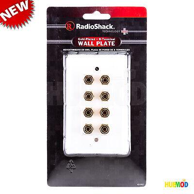 Radio Shack Gold 8 Terminal Wall Plate for 12 Gauge Audio Speaker Banana Plugs ()