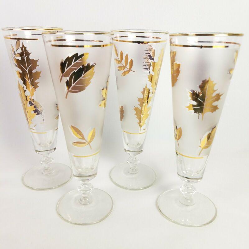 Vintage Libbey Pilsner Glasses Golden Foliage Gold Leaf Set of 4