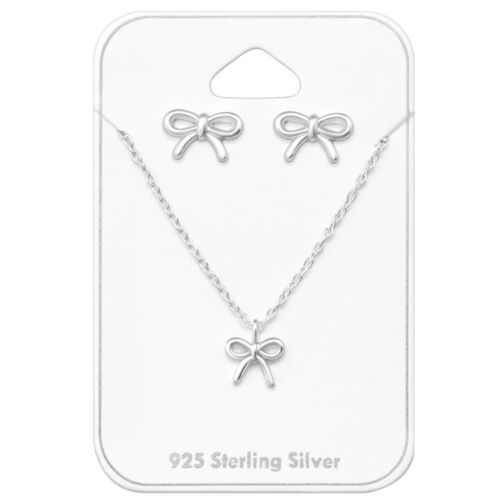 Sterling Silver Bow Necklace & Bow Stud Earrings Set for Kids 2767