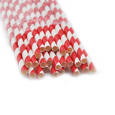 25pcs Red&White Striped Paper Drinking Straws Mixed Party Holiday Decor - Red And White Striped Paper