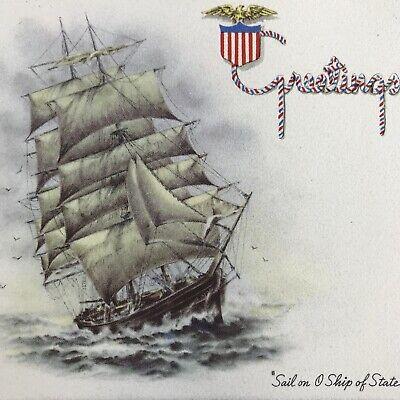 Vintage Early Mid Century Christmas Greeting Card Sailboat Ship Seas Patriotic