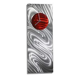 Modern Metal Art  Wall Clock  NEW Silver Red Abstract   SIGNED  By Jon Allen