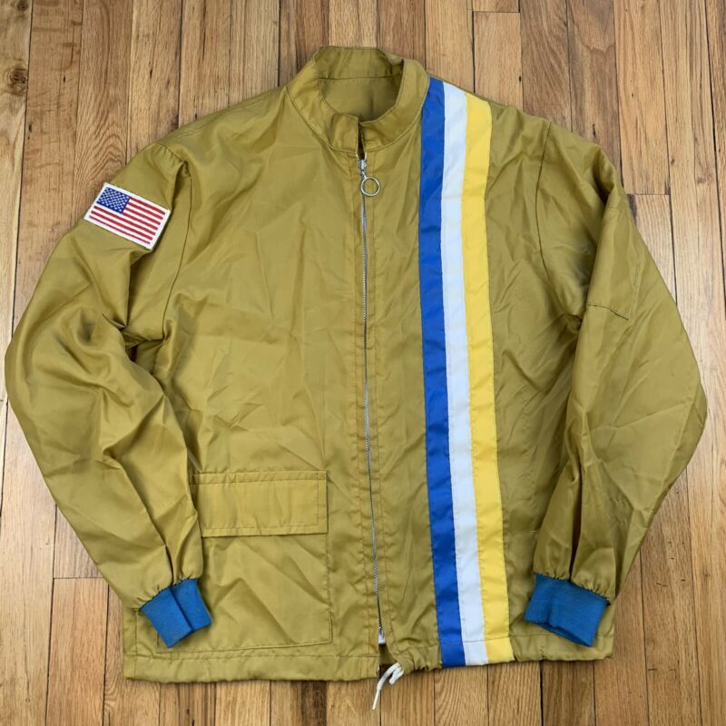 Vintage Racing Stripe Windbreaker Jacket - Race Apparel Coat