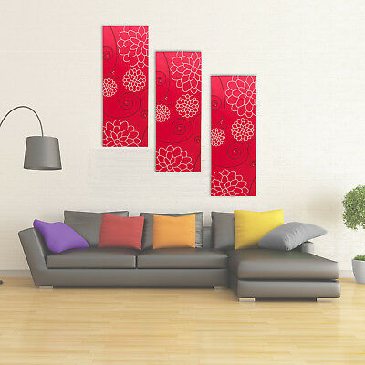 3x Large XL Red Modern Canvas Wall Art Multi Abstract Living Room Decoration Set