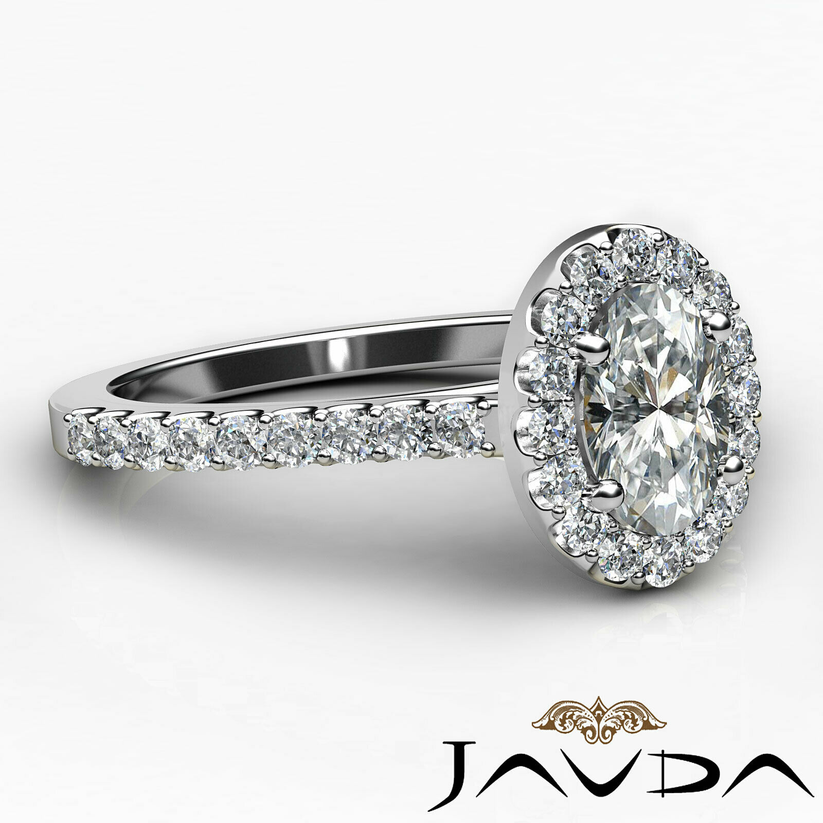 1.6ctw Prong Setting Oval Diamond Engagement Ring GIA H-VS1 White Gold Women New 2