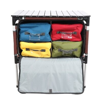 Folding Camping Storage Organizer Kitchen/Grill Table with Camping Wash Basin