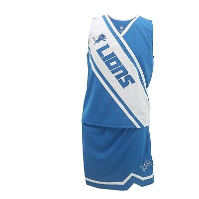 Detroit Lions NFL Kids Youth Girls 2 Piece Cheerleader Outfit with Skirt Set New