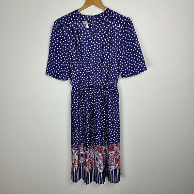 80s Dresses | Casual to Party Dresses Vintage 80s Dress Blue Polka Dot Pleated Floral Styled By Tosol David Size 10 $29.95 AT vintagedancer.com